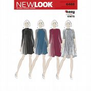 6469 New Look Pattern: Misses' Easy Knit Dress with Length and Sleeve Variations